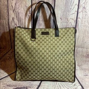 Authentic Gucci bag tote purse canvas GG euc HUGE